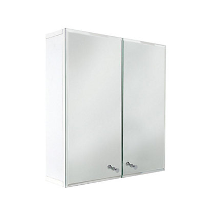 Image for Vettii Bevelled Mirror Bathroom Double Door Cabinet - White from StoreName