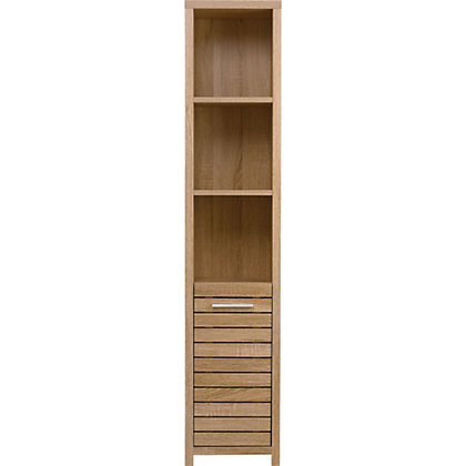 Image for Skydale Tall Boy Bathroom Cabinet - Slatted Wood Grain from StoreName