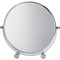 Small Round Footed Mirror - Chrome Plated