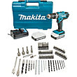 Makita 18V Combi Drill with 74 Piece Accessory Set
