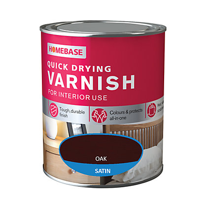 Image for Homebase Quickdry Varnish Satin Oak - 250ml from StoreName