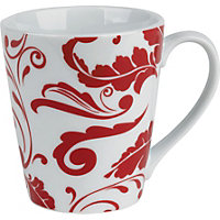 Home of Style Deconstructed Damask Mug - Red