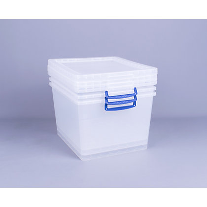Image for Really Useful 33.5 Litre Clear Storage Box 3 pack from StoreName