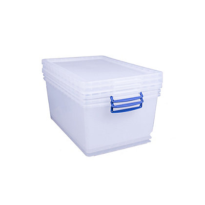 Image for Really Useful 62 Litre Clear Storage Box 3 pack from StoreName