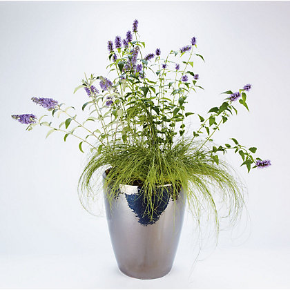 Image for Mawes Glazed Garden Plant Pot in Silver - 38cm from StoreName