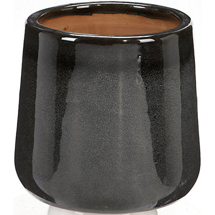 Image for Sanctuary Glazed Plant Pot in Black - 31cm from StoreName