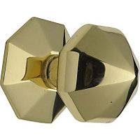 Octagonal Centre Door Knob - Brass