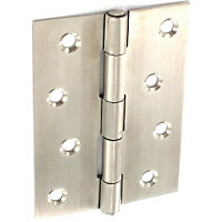 Butt Hinge Satin stainless steel - 100mm - Pack of 2