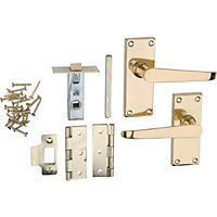 Victorian Door Handle Internal Pack - Polished Brass