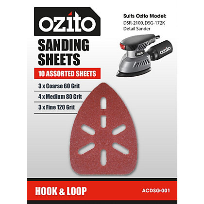 Image for Ozito DSR-2100U Detail Sandpaper Sheets - 10 Pack from StoreName