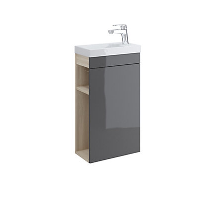 Image for Mondella Square Grey Gloss Vanity Unit and Basin from StoreName