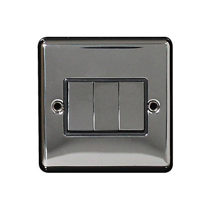 Image for Metal Screw 10A 3 Gang 2 Way Switch - Black Nickel from StoreName