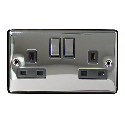 Image for Metal Screw 13A 2 Gang Switched Socket - Single Pole - Black Nickel from StoreName