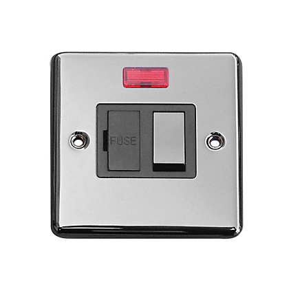 Image for Metal Screw 13A Switched Fuse Connection Unit with Neon - Black Nickel from StoreName