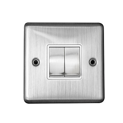 Image for Metal Screw 10A 2 Gang 2 Way Switch - Chrome from StoreName