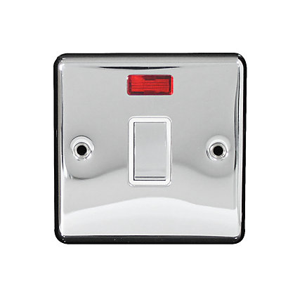Image for Metal Screw 20A 1 Gang Double Pole Switch Flex Outlet with Neon - Chrome from StoreName