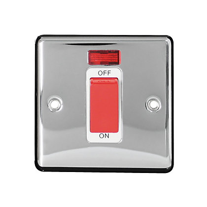 Image for Metal Screw 45A 1 Gang Double Pole Switch with Neon - Chrome from StoreName