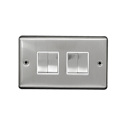 Image for Metal Screw 10A 4 Gang 2 Way Switch - Stainless Steel from StoreName