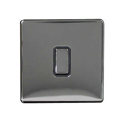 Image for Metal Screwless 10A 1 Gang 1 Way Switch - Black Nickel from StoreName