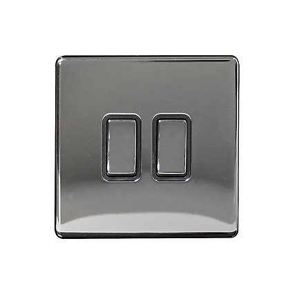 Image for Metal Screwless 10A 2 Gang 2 Way Switch - Black Nickel from StoreName