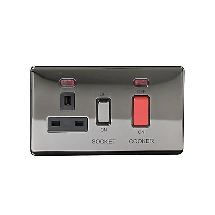 Image for Metal Screwless 45A Cooker Control Unit with Neon - Black Nickel from StoreName