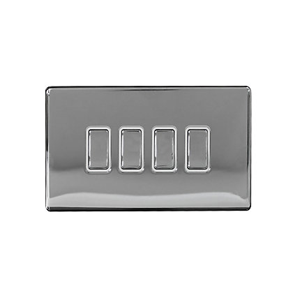 Image for Metal Screwless 10A 4 Gang 2 Way Switch - Chrome from StoreName