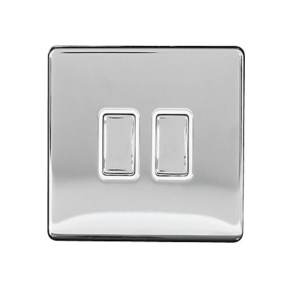 Image for Metal Screwless 10A 2 Gang 2 Way Switch - Stainless Steel from StoreName