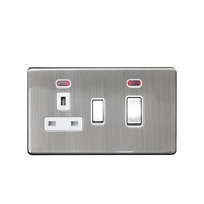 Image for Metal Screwless 45A Cooker Control Unit with Neon - Stainless Steel from StoreName