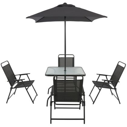 quebec steel 4 seater garden furniture set black