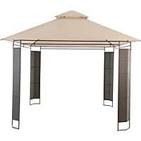 Mali Rattan Effect Gazebo - Brown & Cream