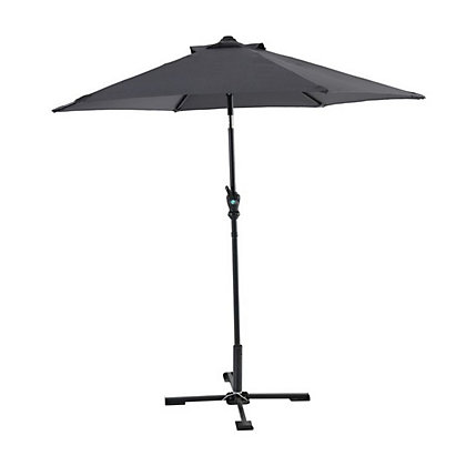 Image for Dark Grey Parasol with Crank & Tilt in Dark Grey & Black - 2.1M from StoreName
