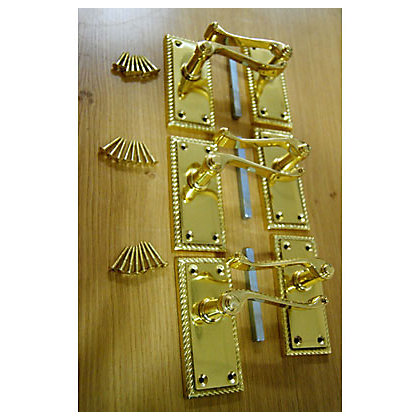 Georgian Lever Handle Polished Brass 3 Pairs