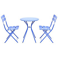 Steel 2 Seater Garden Bistro Set with Folding Chairs - Blue