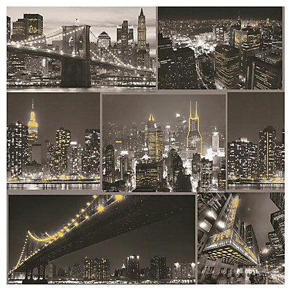 Image for Fresco City At Night Black Wallpaper from StoreName