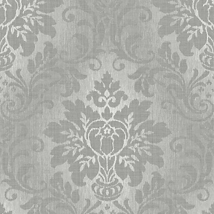 Image for Grandeco Fabric Damask Silver Wallpaper from StoreName