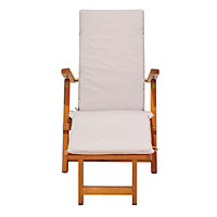 Austin Wooden Steamer Chair with Cushion - Natural & Off-white