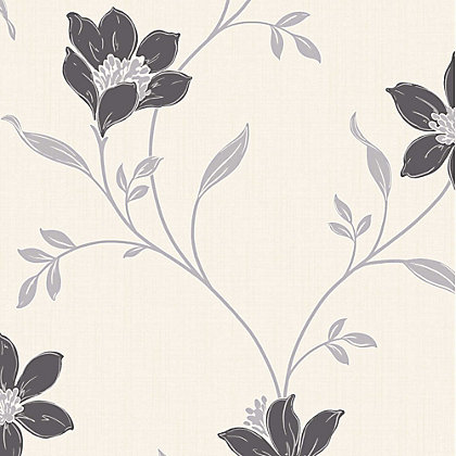Image for Fine Decor Amelia Floral Black & Silver Wallpaper from StoreName