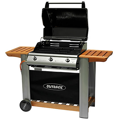 Image for Outback Hooded 3 Burner Gas BBQ - Black from StoreName
