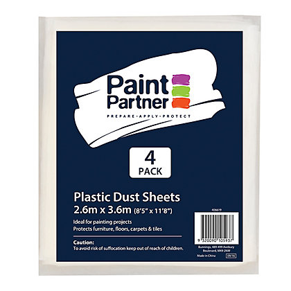 Image for Paint Partner Plastic Drop Sheet - 4 Pack from StoreName