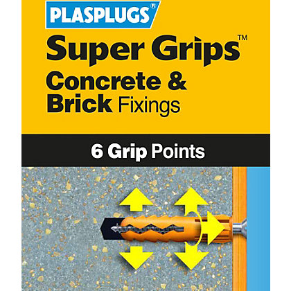Image for Plasplugs Yellow Solid Wall Fixings Clip Pack from StoreName
