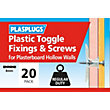 Plasplugs Standard Plasterboard Toggle & Screws x 20