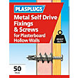 Plasplugs Metal Self Drive & Screws x 50
