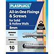 Plasplugs 8mm Multi Purpose & Screws x 10
