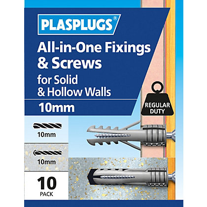 Image for Plasplugs 10mm Multi Purpose & Screws x 10 from StoreName