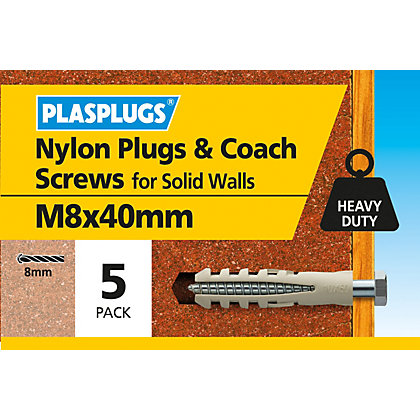 Image for Plasplugs Nylon plug and M8 Coach Screws x 5 from StoreName