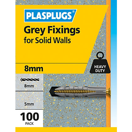 Image for Plasplugs Grey Solid Wall Fixings from StoreName