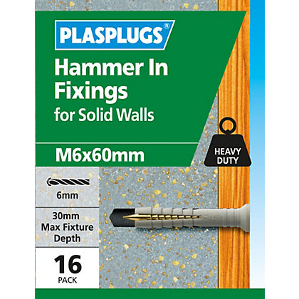 Image for Plasplugs Hammer In M6 x 60 from StoreName