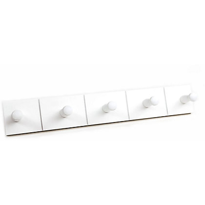 Image for Wooden Hook Rail - White - 5 Hooks from StoreName