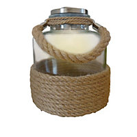 Solar Glass and Rope Jar