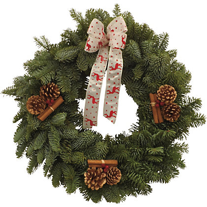 Decorated Wreath 12in Red